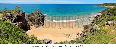 View of Workman Beach in Agnes Water, Queensland, Australia. poster