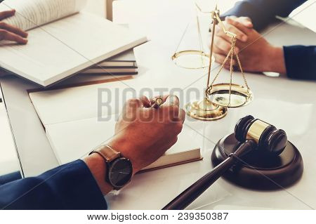 Law And Justice With Client Concept, Attorney Or Lawyer Judgement Lawsuit With Holding Pen, Law Book