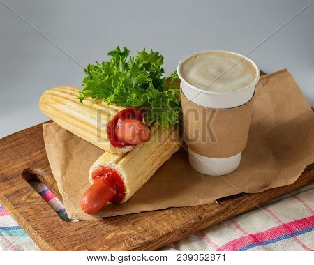 French Hot Dog And Coffee On Neutral Background