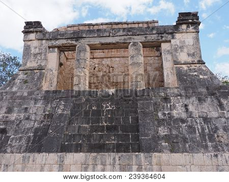 Ancient Wall Ruins Of Great Ball Court Buildings On Chichen Itza City At Mexico, Most Impressive Of