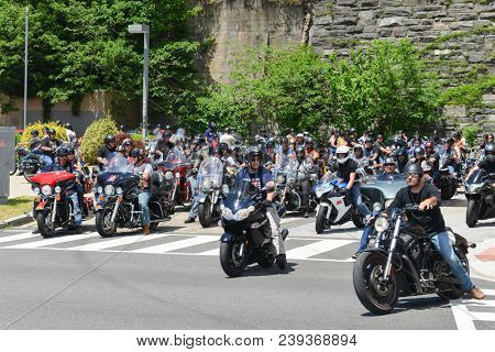 Washington DC / United States of America - 26 May 2014: Motorcycles during Memorial Day Weekend in Washington DC. The Parade is a patriotic tradition during Memorial week in D.C.