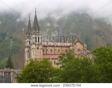 Basilica De Covadonga Church In Asturias Spain