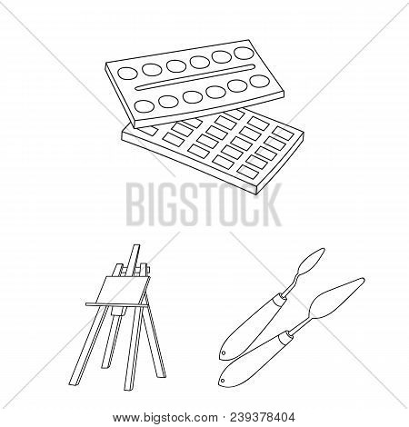 Painter And Drawing Outline Icons In Set Collection For Design. Artistic Accessories Vector Symbol S