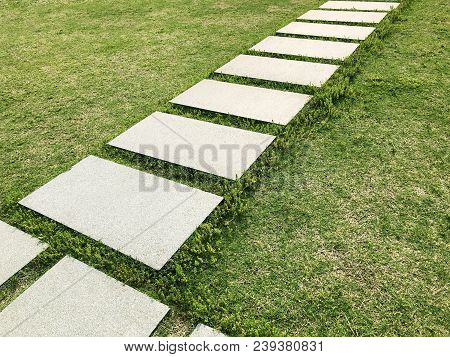 Stone Tiles Walkway Path On Fresh Cut Green Lawn