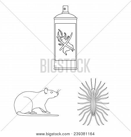 Pest, Poison, Personnel And Equipment Outline Icons In Set Collection For Design. Pest Control Servi