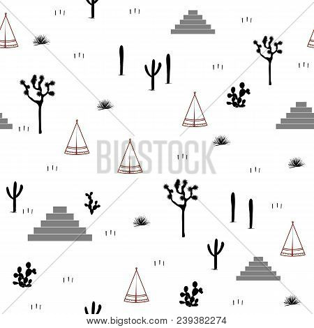 Pyramids, Indian Tents, Saguaro, Agaves, And Opuntia Cactuses On White Background. Cute Design For T