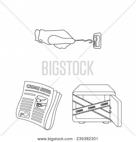 Detective Agency Outline Icons In Set Collection For Design. Crime And Investigation Vector Symbol S