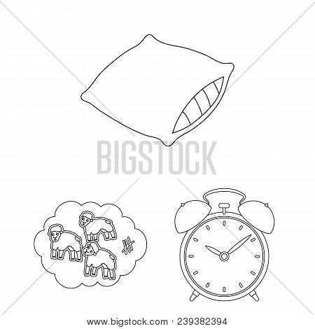 Rest And Sleep Outline Icons In Set Collection For Design. Accessories And Comfort Vector Symbol Sto