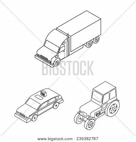 Different Types Of Transport Outline Icons In Set Collection For Design. Car And Ship Isometric Vect