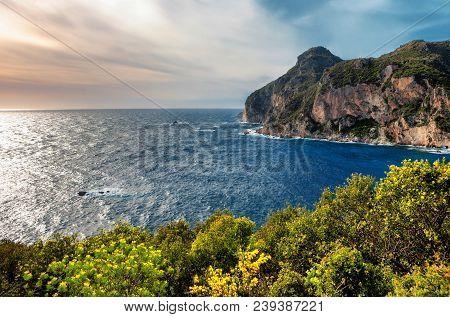 Beautiful Seascape With Cliffs And Vivid Green Foliage From Paleokastritsa In Corfu, Greece. (hdr Im