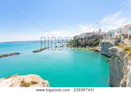 Vieste, Apulia, Italy - Turquoise Water At The Cliffs Of The Old Town In Vieste