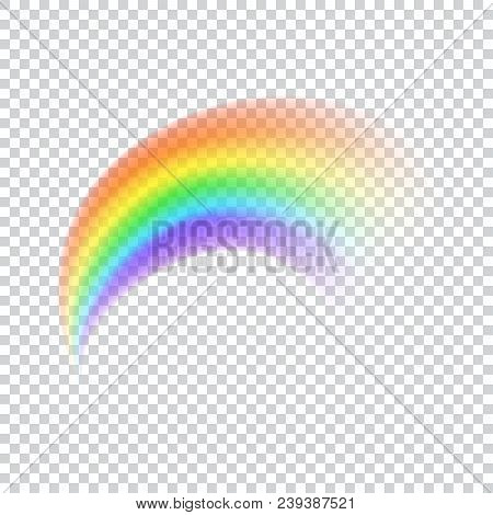 Realistic Vector Rainbow Icon. Isolated Arch Shape On White Transparent Background. Colorful Light A