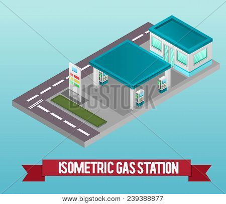 Vector Low Poly Isometric 3d Gas Station. Vector Isometric Icon Or Infographic Element Representing