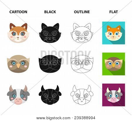 Owl, Cow, Wolf, Dog. Animal Muzzle Set Collection Icons In Cartoon, Black, Outline, Flat Style Vecto