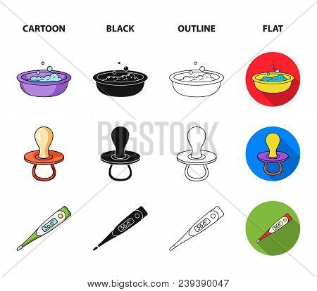 Pacifier, Electronic Thermometer, Children Overalls, Diaper.baby Born Set Collection Icons In Cartoo