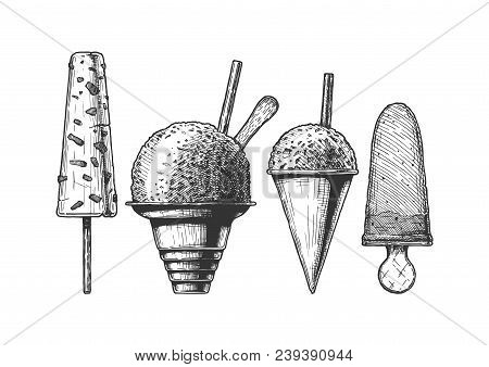 Set Of Frozen And Ice-based Dessert. Kulfi, Shaved Snow, Snow Cones And Ice Cream. Vector Hand Drawn