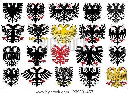 Set Of Heraldic German Double-headed Eagles. Vector Illustration From Giovanni Santi-mazzini Heraldi
