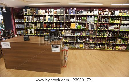 Andorra La Vella, Andorra. March 17, 2015: Shelves With Countless Bottles Of Wine In A Wine Shop In
