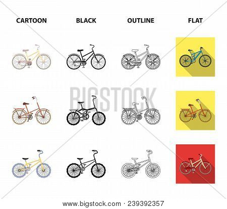 Children Bicycle And Other Kinds.different Bicycles Set Collection Icons In Cartoon, Black, Outline,
