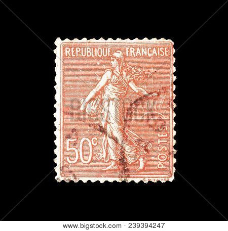 France - Circa 1924 : Cancelled Postage Stamp Printed By France, That Shows Sower.