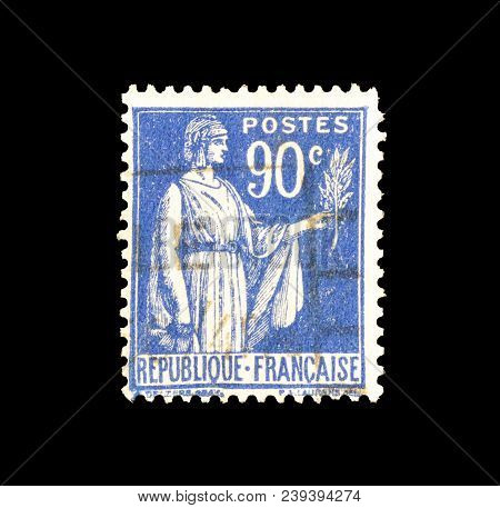 France - Circa 1938 : Cancelled Postage Stamp Printed By France, That Shows Allegory Of Peace.