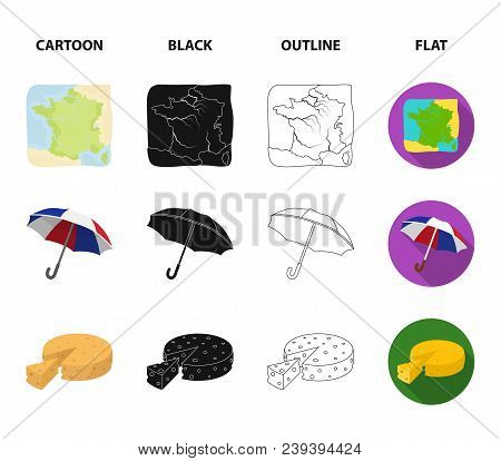 Umbrella, Traditional, Cheese, Mime .france Country Set Collection Icons In Cartoon, Black, Outline,