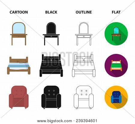 A Bed, An Armchair, A Toilet, A Wardrobe.furniturefurniture Set Collection Icons In Cartoon, Black,