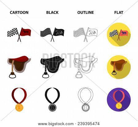 Saddle, Medal, Champion, Winner .hippodrome And Horse Set Collection Icons In Cartoon, Black, Outlin