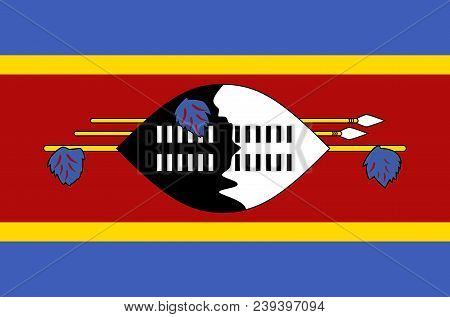 Eswatini National Flag. Official Flag Of Swaziland Accurate Colors, True Color