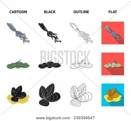 Electric Ramp, Mussels, Crab, Sperm Whale.sea Animals Set Collection Icons In Cartoon, Black, Outlin