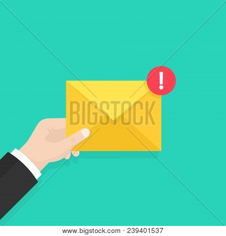 Email Message Concept. New, Incoming Message, Sms. Hand Holding Envelope, Letter. Delivery Of Messag