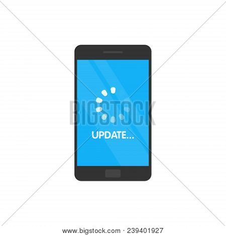 Update System software and upgrade concept. Loading process in smartphone screen. Vector illustration poster