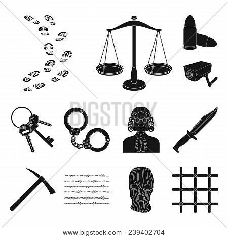 Prison And The Criminal Black Icons In Set Collection For Design.prison And Attributes Vector Symbol