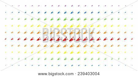 Alert Megaphone Icon Rainbow Colored Halftone Pattern. Vector Alert Megaphone Shapes Are Organized I