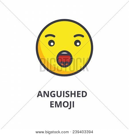 Anguished Emoji Vector Line Icon, Sign, Illustration On White Background, Editable Strokes