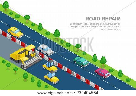 Road Repair And Construction Horizontal Banner Template. Vector 3d Isometric Illustration. Roller An