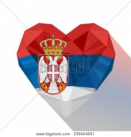 Vector Crystal Gem Jewelry Serbian Heart With The Flag Of The Republic Of Serbia. Flat Style Logo Sy