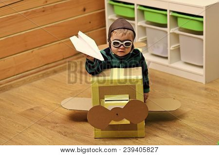 Pilot Travel, Airdrome, Imagination. Little Boy Child Play In Cardboard Plane, Childhood. Air Mail D
