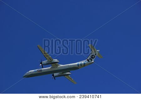 Amsterdam The Netherlands - May 4th 2018: G-ecor Flybe De Havilland Canada Dhc-8-400 Takeoff From Po