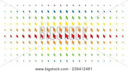 Cursor Arrow Icon Spectrum Halftone Pattern. Vector Cursor Arrow Shapes Are Arranged Into Halftone A
