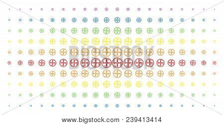 Drone Screw Rotation Icon Spectral Halftone Pattern. Vector Drone Screw Rotation Objects Are Organiz