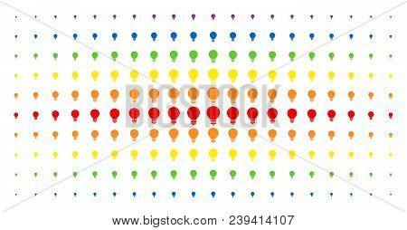 Electric Bulb Icon Spectrum Halftone Pattern. Vector Electric Bulb Shapes Are Organized Into Halfton