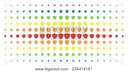 Electric Guard Icon Rainbow Colored Halftone Pattern. Vector Electric Guard Shapes Are Organized Int