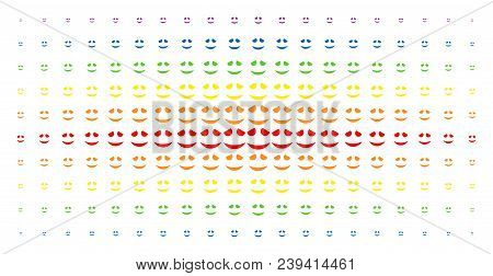 Embarassed Smile Icon Spectrum Halftone Pattern. Vector Embarassed Smile Items Are Organized Into Ha