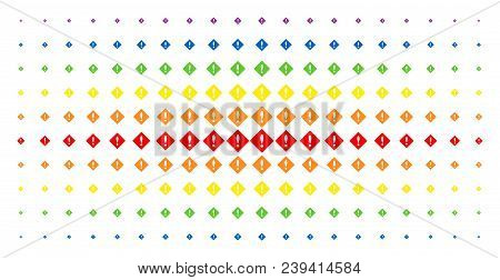 Error Icon Spectrum Halftone Pattern. Vector Error Shapes Are Arranged Into Halftone Matrix With Ver