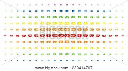 Euro Banknote Icon Spectrum Halftone Pattern. Vector Euro Banknote Symbols Are Organized Into Halfto