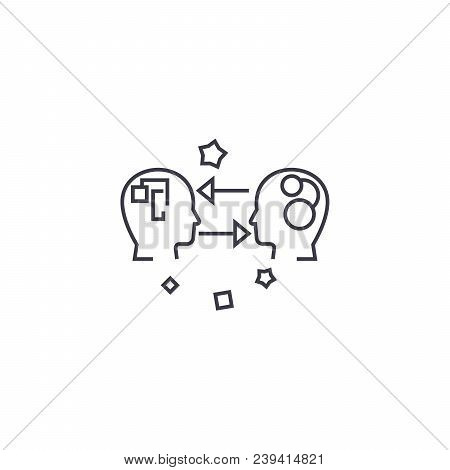 Emotional Intelligence Vector Line Icon, Sign, Illustration On White Background, Editable Strokes