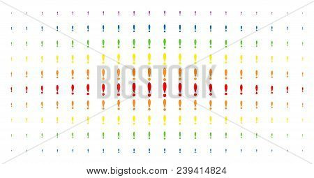 Exclamation Sign Icon Spectrum Halftone Pattern. Vector Exclamation Sign Objects Are Arranged Into H