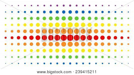 Filled Circle Icon Spectrum Halftone Pattern. Vector Filled Circle Objects Are Arranged Into Halfton