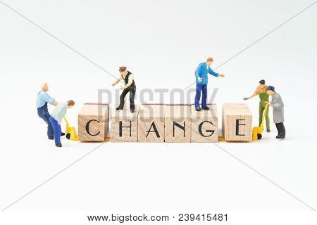 Business Change, Transform Or Self Development For Success Concept, Miniature People Figure, Workers